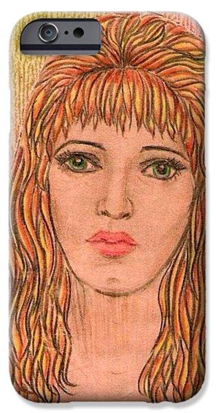 Coloured Pencil Self Portrait iPhone Case by Joan-Violet Stretch