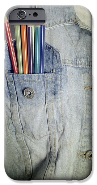 Denim iPhone Cases - Coloured Pencils iPhone Case by Joana Kruse
