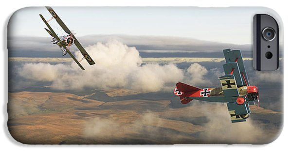 Fokker D V11 iPhone Cases - Colourful Encounter iPhone Case by Pat Speirs