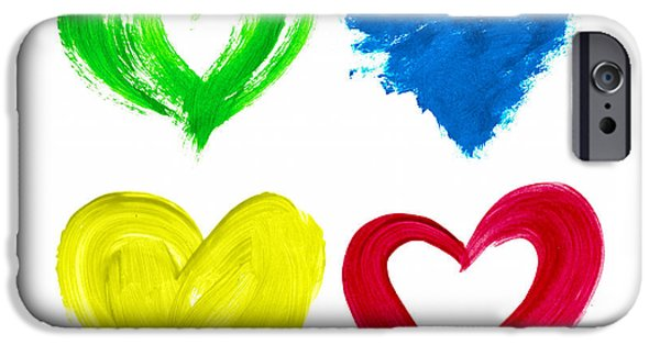 Tim Paintings iPhone Cases - Colourful Love Hearts iPhone Case by Tim Gainey