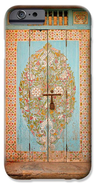 Entrance Door Photographs iPhone Cases - Colourful Moroccan Entrance Door Sale Rabat Morocco iPhone Case by Ralph A  Ledergerber-Photography