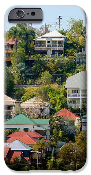David iPhone Cases - Colourful Queenslander houses on a steep hillside  iPhone Case by David Hill