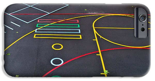 Hard Court iPhone Cases - Colourful school playground iPhone Case by Georgina Noronha