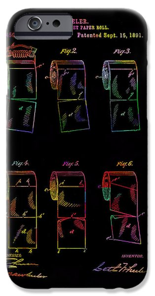 Sheets Drawings iPhone Cases - Colourful toilet paper patent from 1891 iPhone Case by Eti Reid