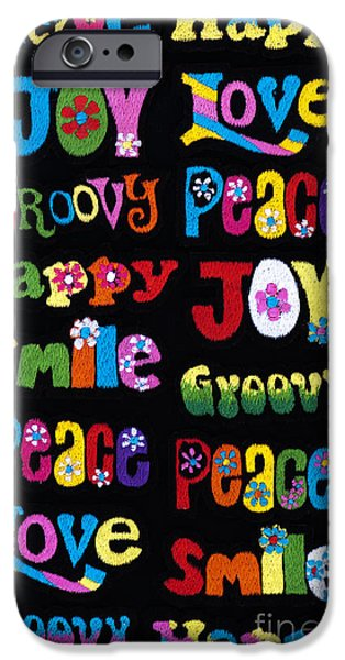 Psychedelic Photographs iPhone Cases - Colourful Words iPhone Case by Tim Gainey