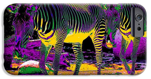 Nature Abstracts iPhone Cases - Colourful Zebras  iPhone Case by Aidan Moran