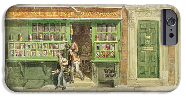 Painter Photographs iPhone Cases - Colourmans Shop, St Martins Lane, 1829 Wc On Paper iPhone Case by George the Elder Scharf