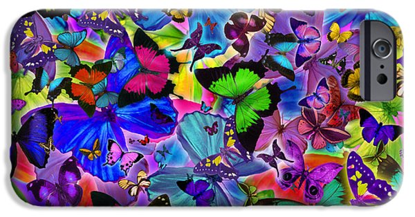 Abstract Digital iPhone Cases - Colours Of Butterflies iPhone Case by Alixandra Mullins