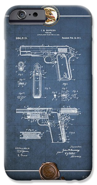 Colt 45 iPhone Cases - Colt 1911 by John M. Browning - Vintage Patent Blueprint iPhone Case by Serge Averbukh