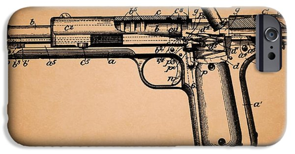 Weapon Drawings iPhone Cases - Colt Model Pistol 1902 Patent iPhone Case by Mountain Dreams