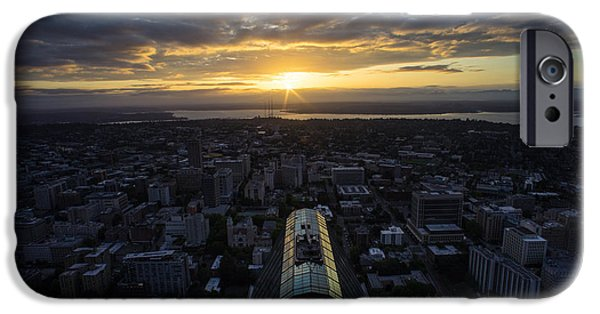 Capitol Hill iPhone Cases - Columbia Center Sunrise iPhone Case by Mike Reid