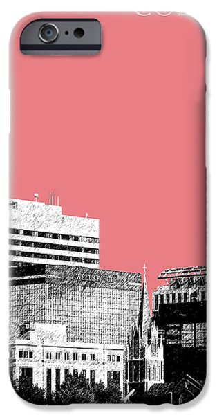 Pen And Ink iPhone Cases - Columbia South Carolina Skyline 1 - Light Red iPhone Case by DB Artist