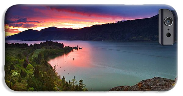 Sunset iPhone Cases - Columbia Sunset iPhone Case by Darren  White