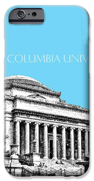 Pen And Ink iPhone Cases - Columbia University - Sky Blue iPhone Case by DB Artist