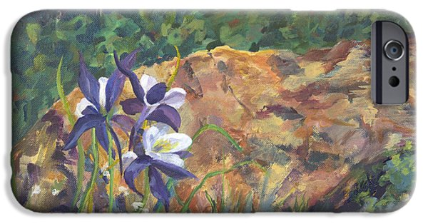 Betty Ford iPhone Cases - Columbine at Betty Ford Gardens iPhone Case by Joan Willoughby
