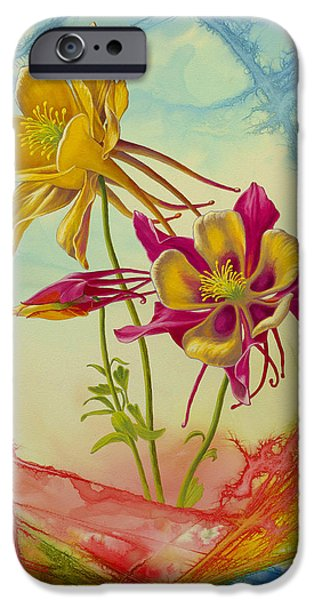 Flower Abstract iPhone Cases - Columbine in Abstract 02        iPhone Case by Paul Krapf