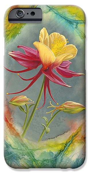 Flower Abstract iPhone Cases - Columbine in Abstract iPhone Case by Paul Krapf