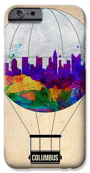 Towns Digital Art iPhone Cases - Columbus Air Balloon iPhone Case by Naxart Studio