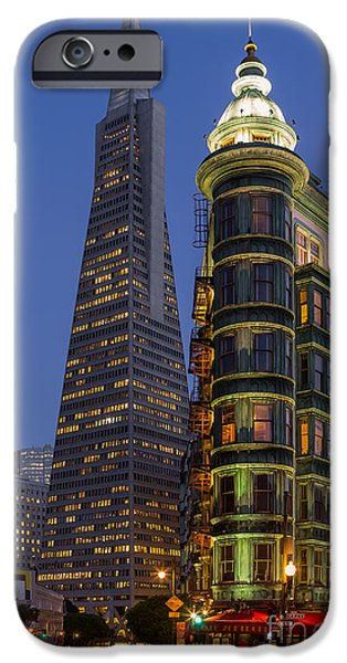 Francis Ford Coppola iPhone Cases - Columbus and Transamerica Buildings iPhone Case by Jerry Fornarotto