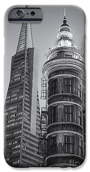 Francis Ford Coppola iPhone Cases - Columbus and Transamerica Towers bw iPhone Case by Jerry Fornarotto