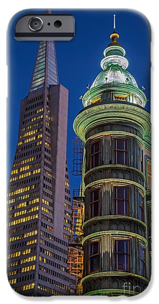 Francis Ford Coppola iPhone Cases - Columbus and Transamerica Towers iPhone Case by Jerry Fornarotto