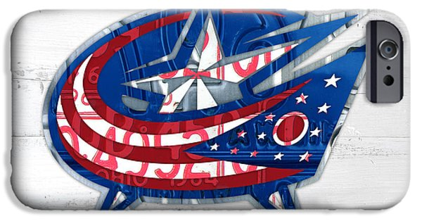 Hockey Mixed Media iPhone Cases - Columbus Bluejackets Retro Hockey Team Logo Recycled Ohio License Plate Art iPhone Case by Design Turnpike