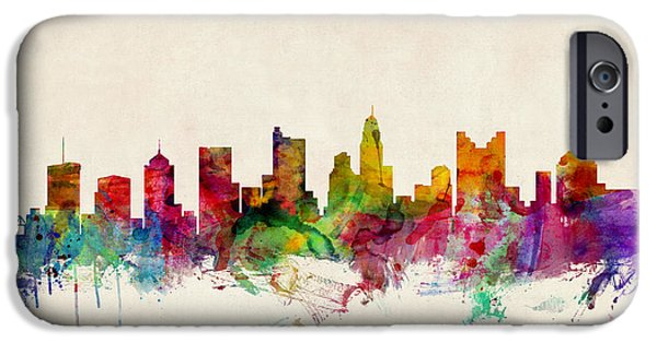 States Digital iPhone Cases - Columbus Ohio Skyline iPhone Case by Michael Tompsett