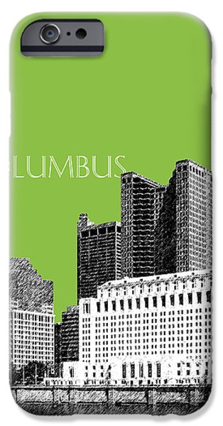 Pen And Ink iPhone Cases - Columbus Ohio Skyline - Olive iPhone Case by DB Artist