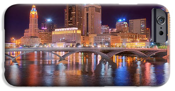 City Scene iPhone Cases - Columbus Skyline at Night Color Panorama Ohio iPhone Case by Jon Holiday