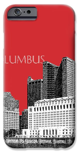 Pen And Ink iPhone Cases - Columbus Skyline - Red iPhone Case by DB Artist