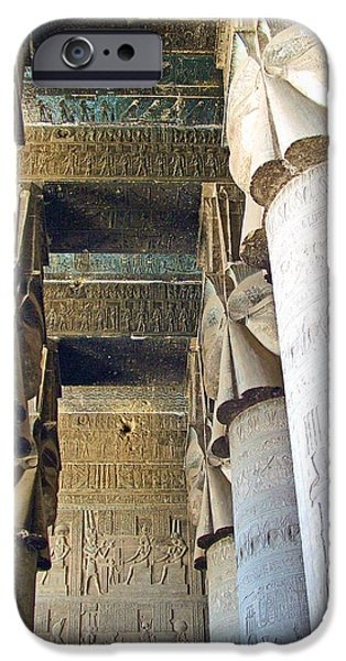 Hathor Digital iPhone Cases - Columns in Temple of Hathor near Dendera in Qena-Egypt iPhone Case by Ruth Hager