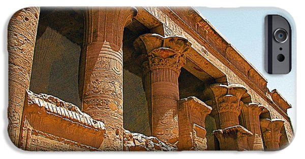 Horus iPhone Cases - Columns in Temple of Horus in Edfu-Egypt  iPhone Case by Ruth Hager