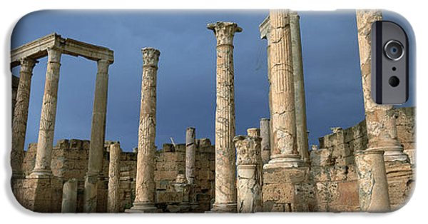 Leptis Magna iPhone Cases - Columns Of Buildings In An Old Ruined iPhone Case by Panoramic Images
