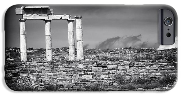 Delos iPhone Cases - Columns of History on Delos Island iPhone Case by John Rizzuto