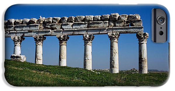 Mounds iPhone Cases - Columns On A Landscape, Apamea, Syria iPhone Case by Panoramic Images