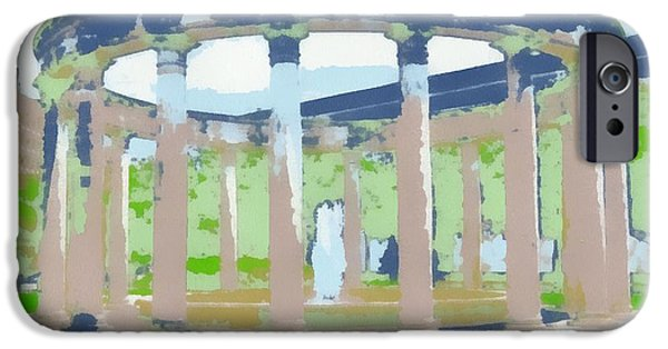 Buildings Mixed Media iPhone Cases - Columns Pop Art iPhone Case by Dan Sproul
