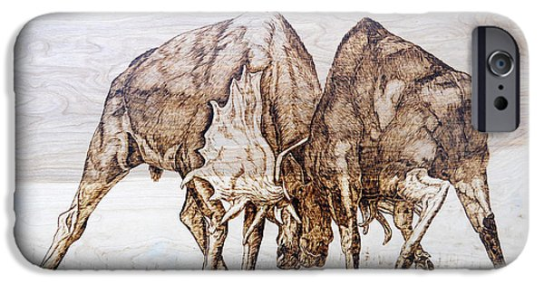 Bulls Pyrography iPhone Cases - Combat iPhone Case by Melissa Fuller