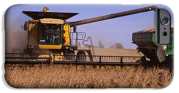 Machinery iPhone Cases - Combine Harvesting Soybeans In A Field iPhone Case by Panoramic Images