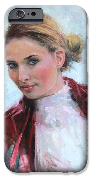 Beautiful Faces Paintings iPhone Cases - Come a Little Closer young woman portrait iPhone Case by Talya Johnson