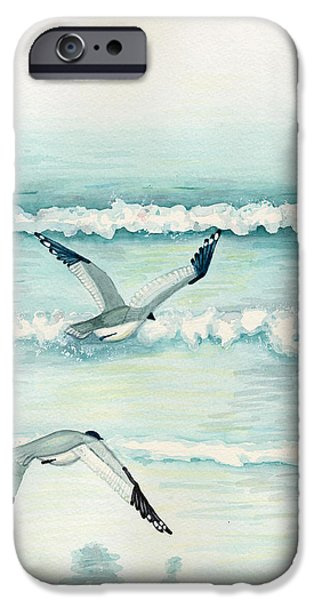 Flying Seagull Mixed Media iPhone Cases - Come Fly with Me iPhone Case by Jill Jackson