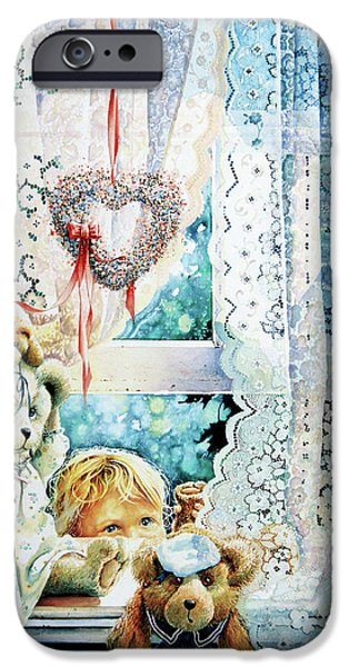 Shower Curtain iPhone Cases - Come Out And Play Teddy iPhone Case by Hanne Lore Koehler