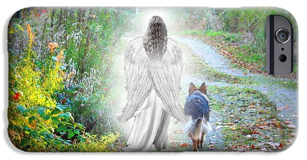 Canine Digital iPhone Cases - Come Walk With Me iPhone Case by Sue Long