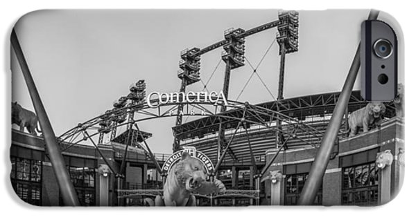 Baseball Stadiums iPhone Cases - Comerica Park Black and White iPhone Case by John McGraw