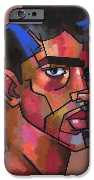 Figures Paintings iPhone Cases - Comes from a Small Town iPhone Case by Douglas Simonson