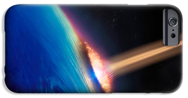 Comets iPhone Cases - Comet Crashing Into Earth iPhone Case by Panoramic Images
