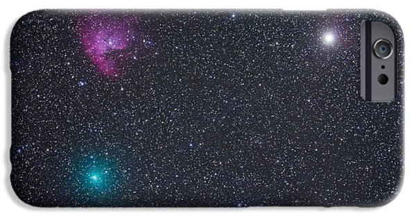Pacman iPhone Cases - Comet Hartley 2 Near The Pacman Nebula iPhone Case by Alan Dyer