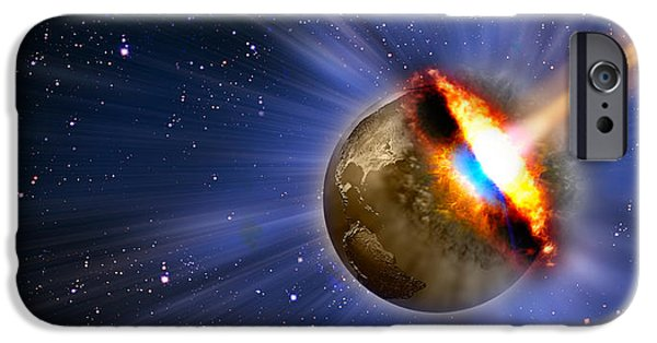 Comets iPhone Cases - Comet Hitting Earth iPhone Case by Panoramic Images