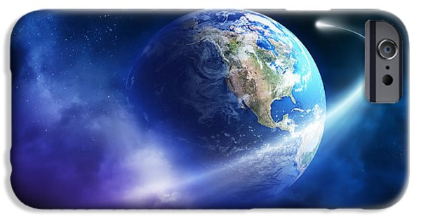 Purple Art iPhone Cases - Comet moving passing planet earth iPhone Case by Johan Swanepoel