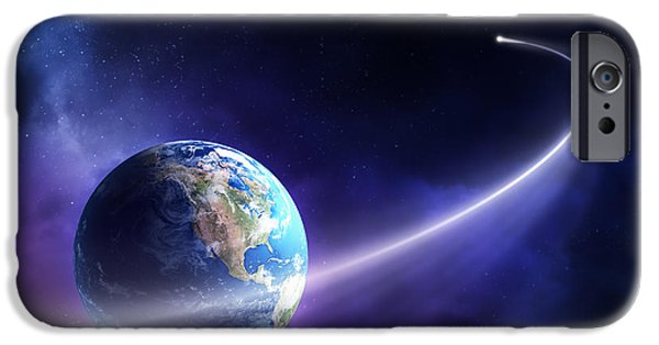 Comets iPhone Cases - Comet moving past planet earth iPhone Case by Johan Swanepoel