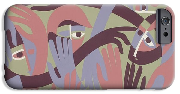 Distortion iPhone Cases - Comforters, 1983 Acrylic On Board iPhone Case by Ron Waddams